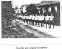 Sokolský průvod přes obec 1938